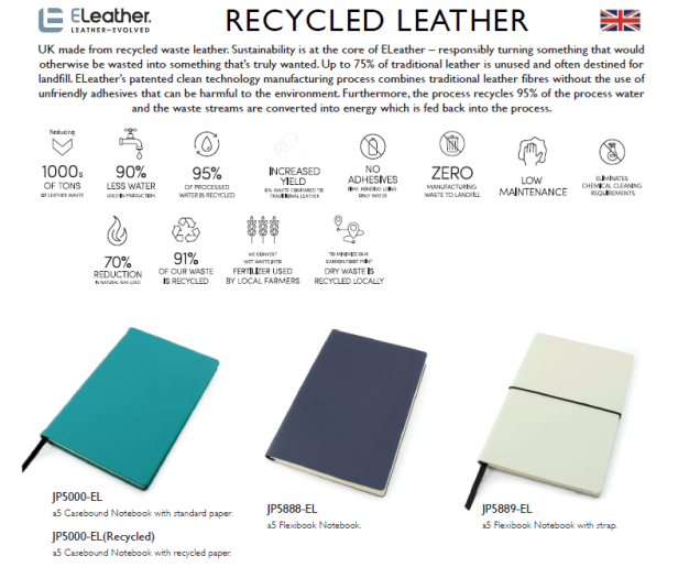 Details of British made recycled leather